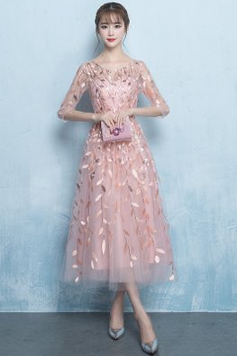 Nude Pink Illusion Neckline Leaf Sequins Embroidery Gown