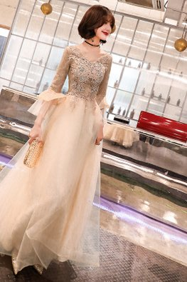 Champagne Gold V-Neck Lace Embroidery Tulle Gown