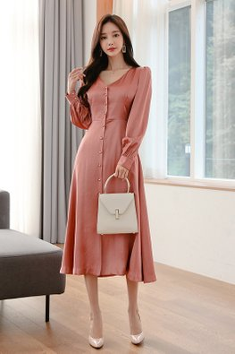 Pink V-Neck Long Sleeves Button Down Dress
