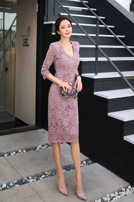 Pinkish Purple V-Neck 3/4 Sleeves Lace Dress