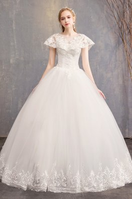 White V-Illusion Overlay Embroidery Sleeves Wedding Gown