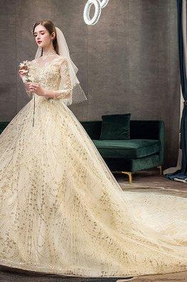 Champagne Illusion Mandarin Collar Long Sleeves Wedding Gown