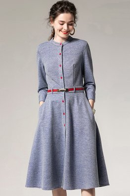 Blue / Pink Round Neck 3/4 Sleeves Button Down Dress