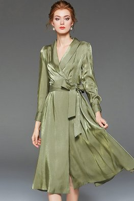 Green V-Lapel Long Sleeves A-Line Dress