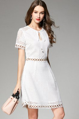 White Keyhole Ribbon Neckline Patterned Lace Dress