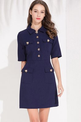 Dark Blue Collar Short Sleeves Multi-Pocket Dress