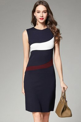 Dark Blue 2-Tone Design Sleeveless Dress