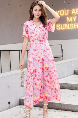 Floral Collar Short Sleeves 3-Button Spring Dress