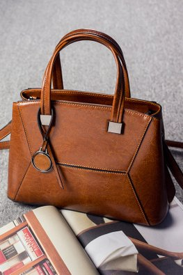 Brown / Blue 2-Way Hand & Sling Bag