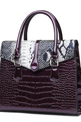 Purple / Black Crocodile Leather 2-Way Hand & Sling Bag