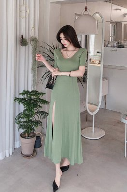 Green U-Neckline Short Sleeves High Slit Dress