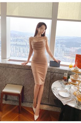 Nude Strap Gather Front Sheath Dress