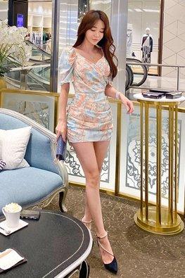 2-Way Pastel Floral V-Wrap Mini Dress