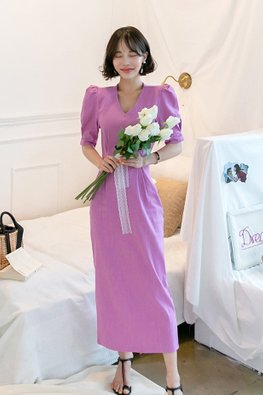 Purple V-Neck Puff Elbow Sleeves Back Slit Dress