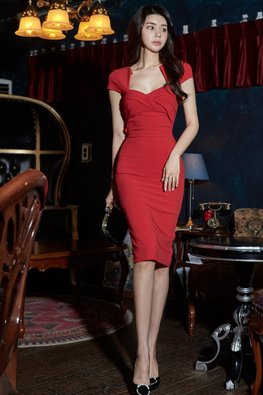 Red Diamond-Cut Neckline Cap Sleeves Dress