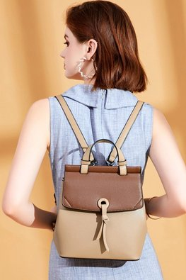 Khaki Brown 2-Tone Mini Bagpack
