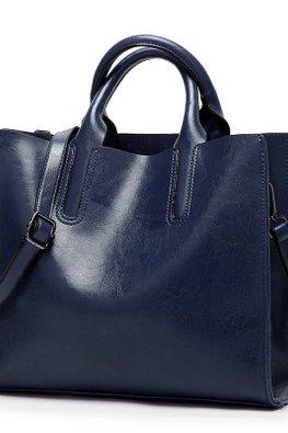 Blue / Brown Squarish 2-Way Hand & Shoulder Bag