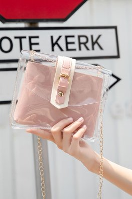 Pastel Blue / Pink 2-in-1 Transparent Chain Sling Bag