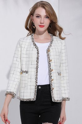 Black / White Round Neck Square-Patterned Outerwear