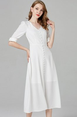 White V-Neck Elbow Sleeves Button-Down Dress
