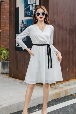 White V-Wrap Long Sleeves Black Ribbon Dress