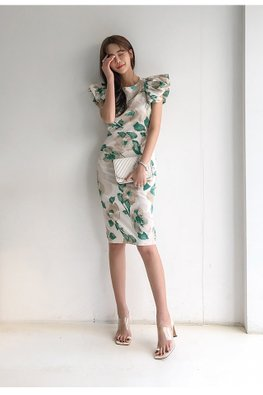Green Floral Round Neck Pleated Sleeves Sheath Dress
