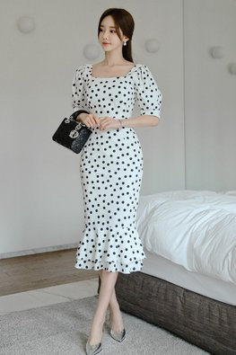 Polka Dot Square Neckline Elbow Sleeves Mermaid Dress