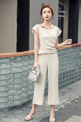 2-Pc Almond Wide Neck Top + Loose-Fit Pants (Express)