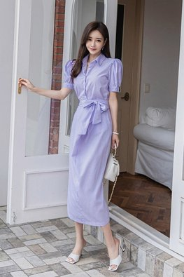Blue Collar Puff Sleeves Ribbon Stripe Dress