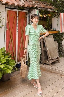 Green V-Neck Front-Gather Mermaid Stripe Dress