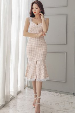 2-Pc Sweetheart Checkered Top + Mermaid Skirt