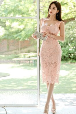 Pink Sweetheart Back-Slit Lace Dress