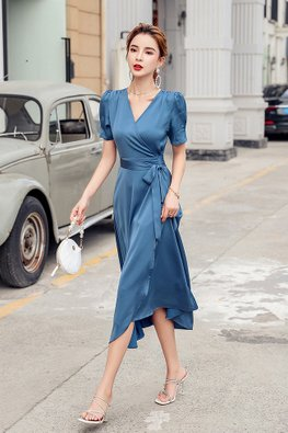Blue V-Wrap Short Sleeves Flowy Dress