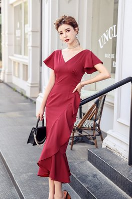 Wine Red V-Neck Short Sleeves Ruffle Flowy Dress