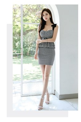 Monochrome Checkered Sweetheart Bustier Peplum Mini Dress