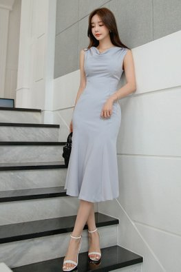 Light Blue Drape Neckline Mermaid Dress