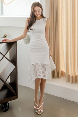 White Round Neck Sleeveless Diamond Lace Dress