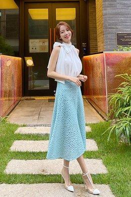 2-Pc Halter Neckline Top + Floral Lace Skirt