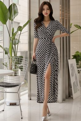 Black V-Wrap Elbow Sleeves White Patterned Dress