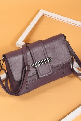 Assorted Colours Rectangular Chain Detail Sling Bag