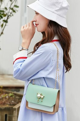 3-Tone Mint Green Pearl Details Chain Mini Bag