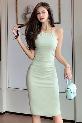 Avocado Green Halter Cross Back Sheath Dress