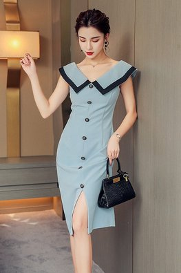 Sky Blue V-Neck Wide Collar Button Down Dress