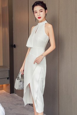 White Halter Neckline Keyhole Front Slit Dress
