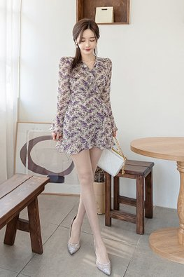 Purple Floral V-Wrap Trumpet Sleeves Mini Dress