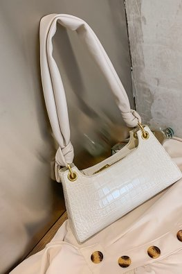 Yellow / Cream Long Knot Handle Shoulder Bag