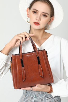 Assorted Colours Buckle-Zip Combination Cow Leather Bag
