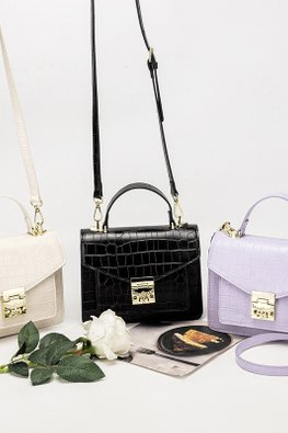 Assorted Colours Crocodile Skin Patterned Hand / Shoulder Bag