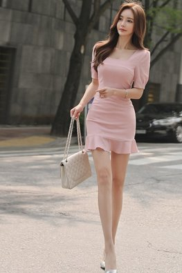 Pink Square Neckline Short Sleeves Mini Mermaid Dress (Express)
