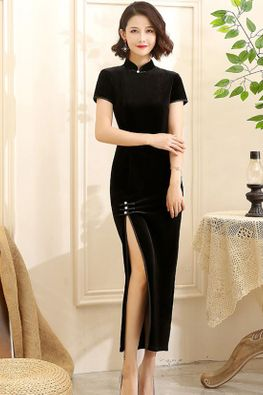 Assorted Colours Mandarin Collar High Slit Velvet Cheongsam